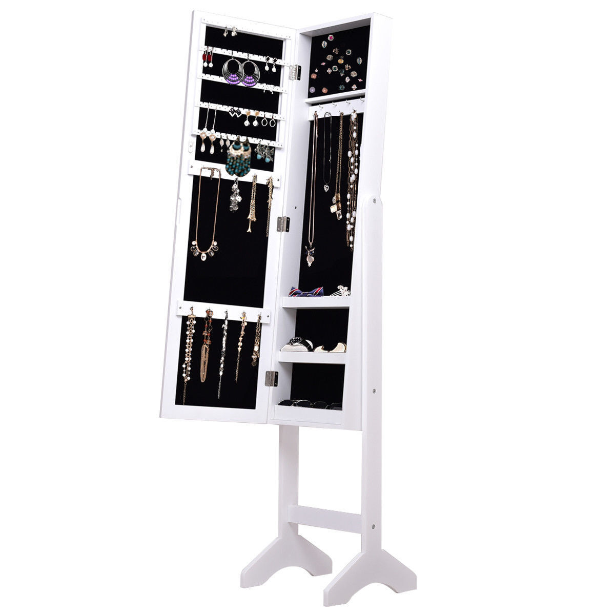 Freestanding White Jewelry Cabinet Armoire Dressing Mirror S