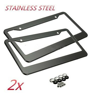 2PCS BLACK STAINLESS STEEL METAL LICENSE PLATE FRAME TAG COVER SCREW CAPS US