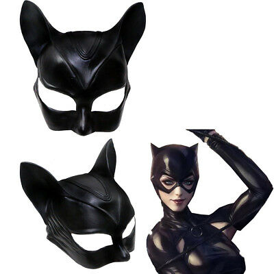 Catwoman Cosplay Mask Batman Costume Prop Helmet Halloween Party Adult Cat Black for sale  USA