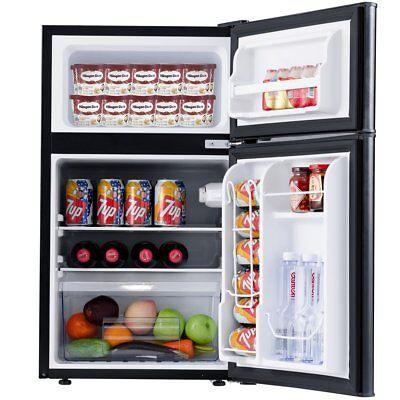 2-Door Compact Refrigerator 3.2 cu ft. Unit Small Freezer Cooler Fridge (Black)