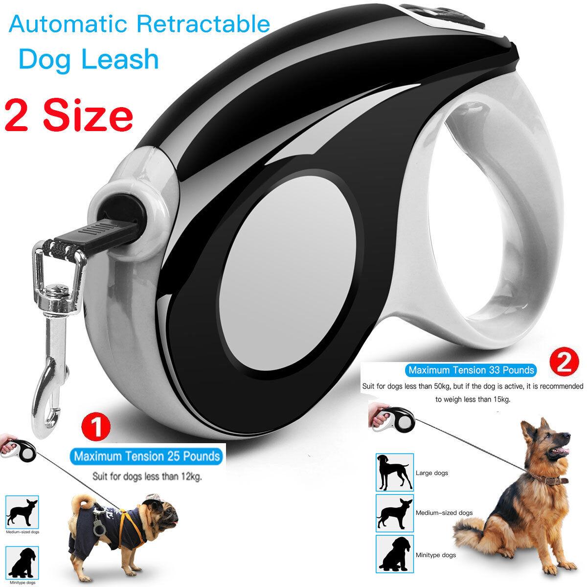 Automatic Retractable Dog Leash Pet Collar, 10ft 16ft for do