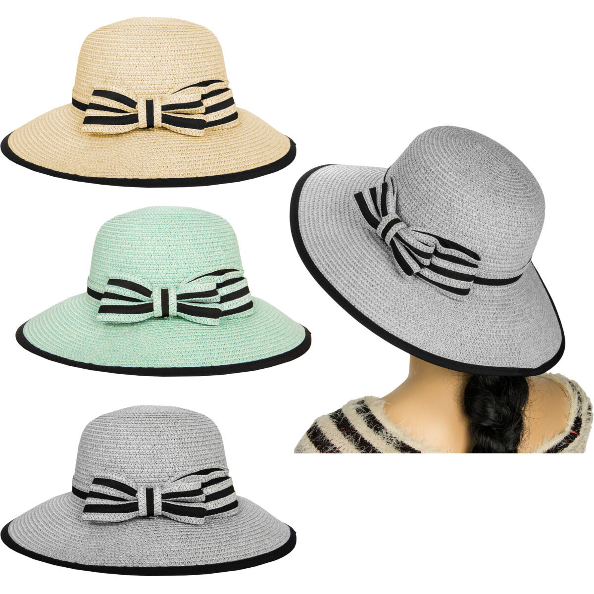 Details about Aerusi Women Ladies Panama Wide Brim Straw Sun Floppy Hat  with Ribbon Tie Band b1d696951bc