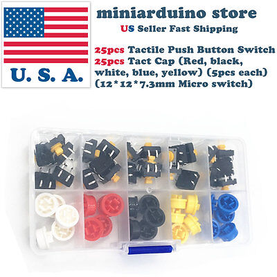 25pcs Tactile Push Button Switch Momentary Micro Switch Button 25pcs Tact Caps