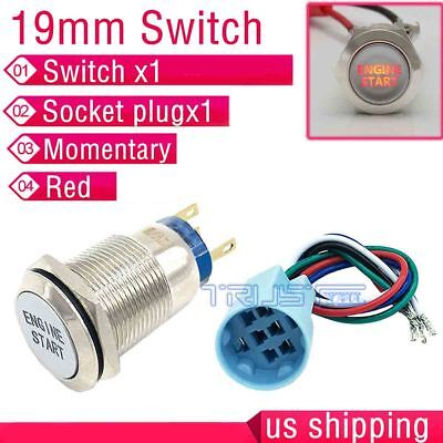 19mm Red Led Momentary Ignition Engine Start Metal Switch Push Socket Plug