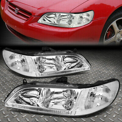 FOR 98-02 HONDA ACCORD CHROME HOUSING CLEAR CORNER HEADLIGHT REPLACEMENT LAMPS