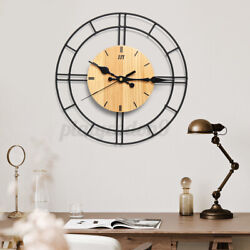 Large Wall Clock Wood & Metal 30CM Big Watch Living Room Vintage Exquisite Decor