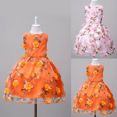 Flower Girls Princess Floral Dress Birthday Pageant Wedding Tutu Dresses For - Dresses For Flowergirls