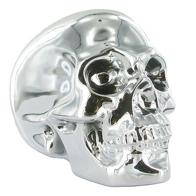Chrome Plated Skull Ornament Large Unique Home Decor Alternative Gift Idea 33090