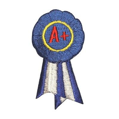 ID 1003 Blue Ribbon A Patch School Award Winner Embroidered Iron On - Blue Ribbon Award