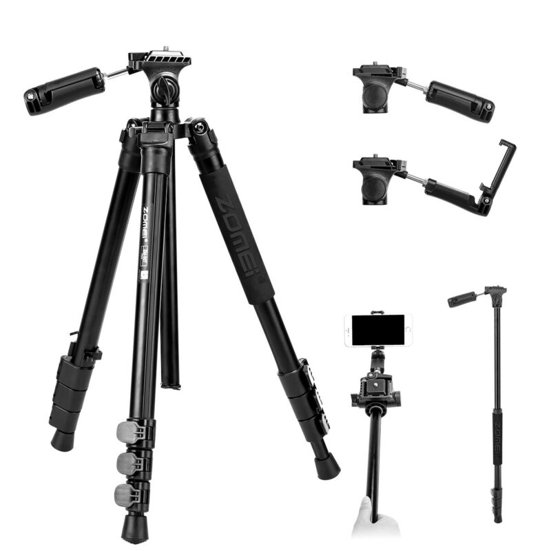 ZOMEI Professional Aluminum Tripod Monopod Pan Head&Phone Clip For DSLR Camera