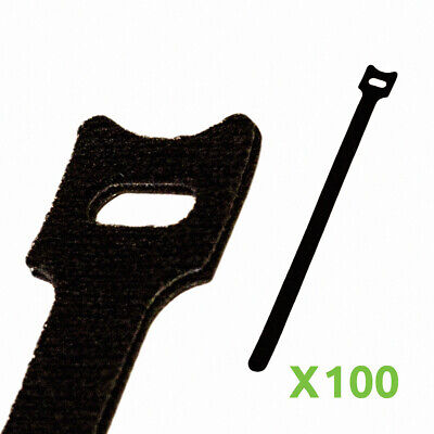 10 Inch Hook And Loop Reusable Strap Cable Cord Wire Ties 100 Pack Black