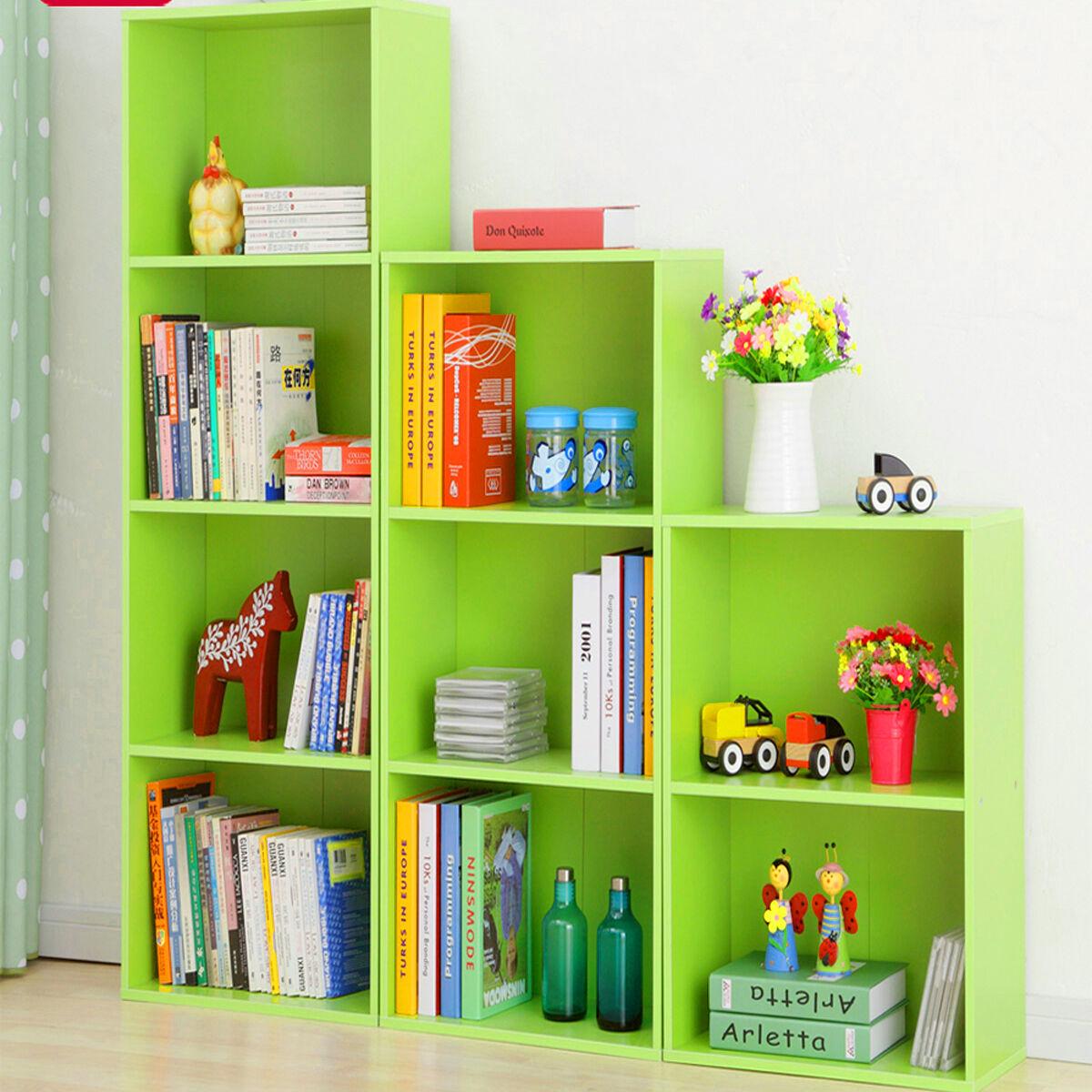 Timber Bookcase: Adjustable 4 Shelf Wood Bookcase Storage Shelving Book