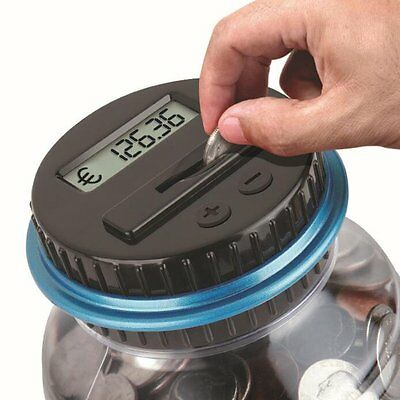Electronic Digital LCD EU Coin Counter Counting Jar Money Saving Piggy Bank Box