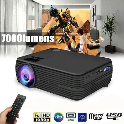 4K FHD 1080P LED Projector Home Theater 7000Lumen USB VGA TF AV + Remote Control
