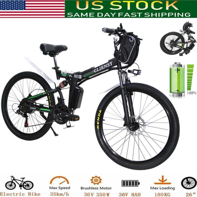 """26"""" Folding Electric Bike City Mountain Cycling EBike 350W 3"""