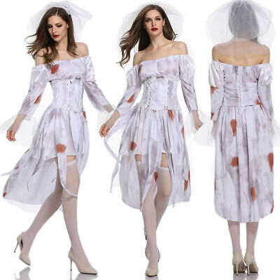 Zombie Bride Halloween Outfits (Women Fancy Dress Adult Ghost Bride Zombie Outfits Cosplay Set Halloween)