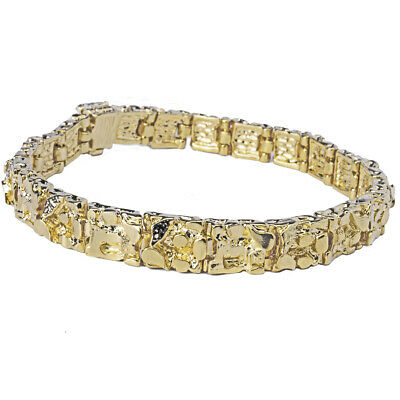 8mm Gold Plated (18K Gold Plated Nugget Bracelet 8 Mm Wide - Made In USA - LIFETIME WARRANTY )