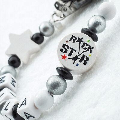 Schnullerkette mit Namen ★ ROCKSTAR ★ Baby Geschenk ★ schwarz silber weiß