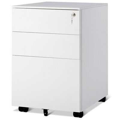 3 Drawer Filing Cabinet Locking Pedestal Under Desk Home Office On Wheels White