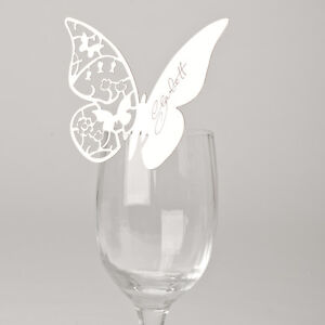 50 x White Butterfly Wedding Lasercut Wine Glass Table Name / Place Cards