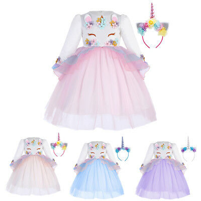 Flower Girl Unicorn Dress Hair Hoop Set For Kids Princess Wedding Party - Flower Costume For Kids