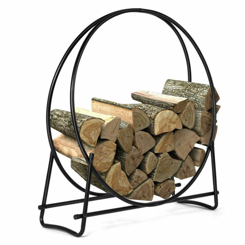 40-Inch Tubular Steel Log Hoop Firewood Storage Rack Holder Round Display New