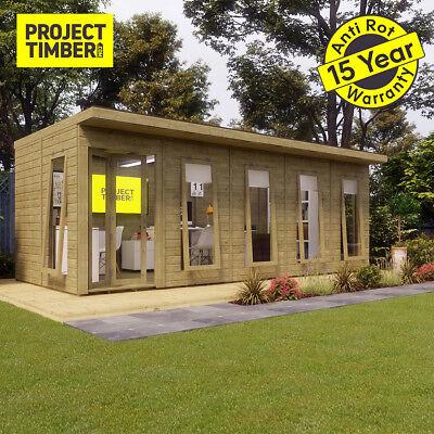 20 x 10 Pressure Treated Pent Summerhouse Garden Office with Bi-Fold Door
