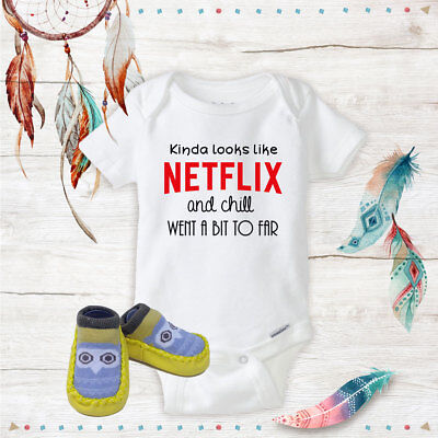 Netflix and Chill Onesie Yellow Owl shoes Baby Shower Best Baby Gift