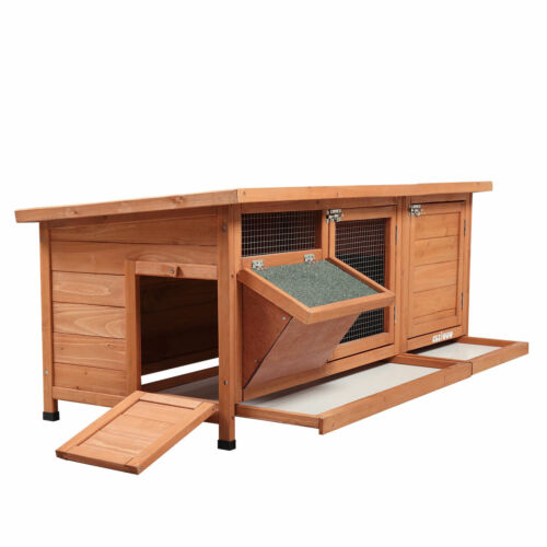 Outdoor Wood Rabbit Hutch Cage House Bunny Chicken Coop Habitat With Tray