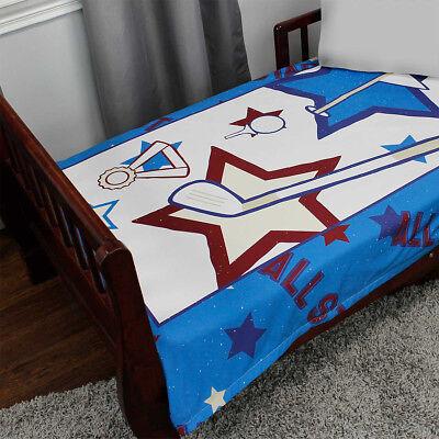 ALL STAR GOLF TODDLER BLANKET - Sports Ball Kids Blue Minky Comforter Bedding All Star Sports Bedding