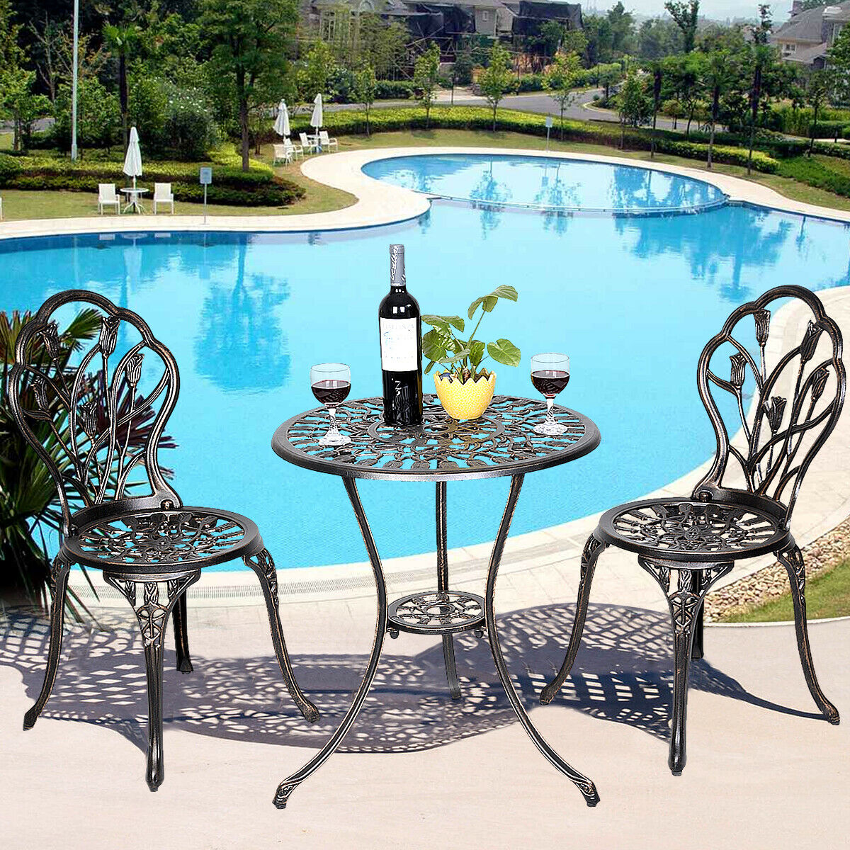 Garden Furniture - Garden Outdoor Patio Furniture Tulip Design Cast Aluminum Café Bistro Set