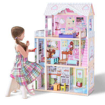 Купить Unbranded - 46 Pink Dollhouse w/ Furniture Gliding Elevator Rooms 3 Levels Young Girls Toy