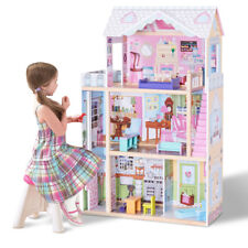 """46"""" Pink Dollhouse w/ Furniture Gliding Elevator Rooms 3 Levels Young Girls Toy"""