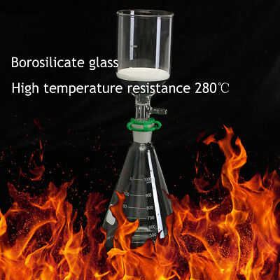 250ml Buchner Funnel Glass Suction Filter 1000ml Litre Erlenmeyer Flask Kit