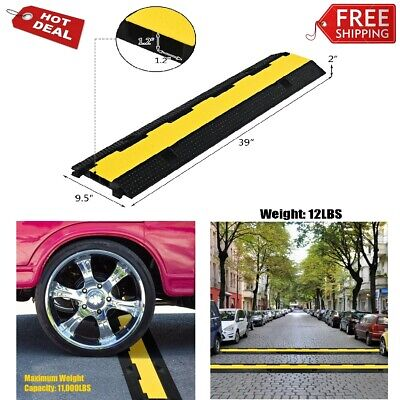 Rubber Floor Cable Protectors 2 Channel Rk Speed Bump Ramps Wire Cord Protective