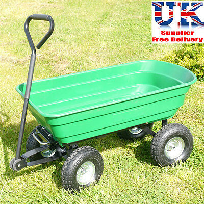 75L Heavy Duty Garden Trolley Cart Tipper Tipping Trailer Dump Wheelbarrow Truck