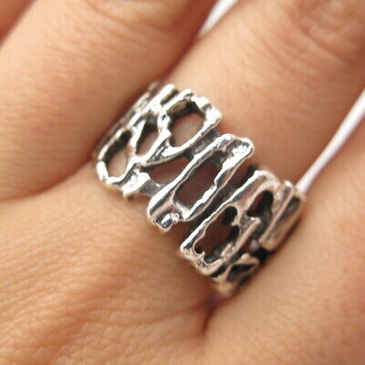 925 Sterling Silver Vintage Modernist Ring Size 10