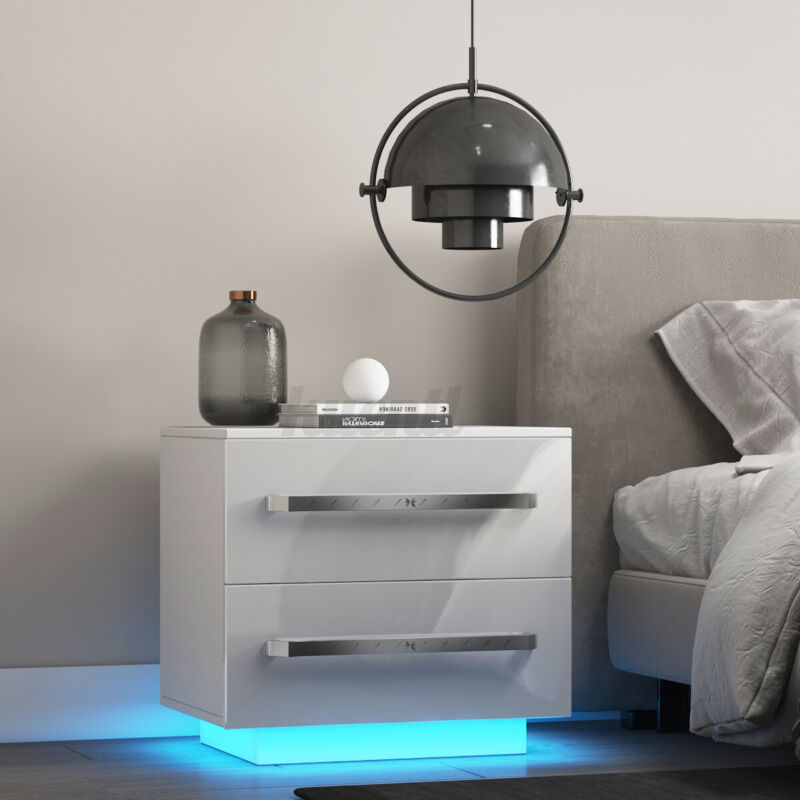 2 High Gloss Drawers Nightstand LED Bedside Table Bedroom with RGB Remote Modern