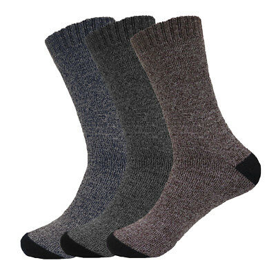 6 Pairs Men's Boot Crew Herringbone Socks Warm Cotton Polyester For Winter