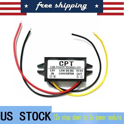 Dc-dc 12v To Usb 5v 3a Converter Regulator Step Down Module Black Us Shipping