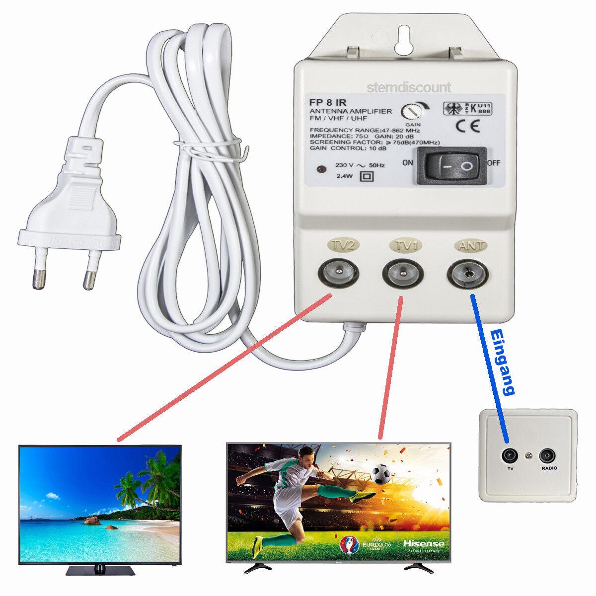 TV Antennenverstärker | 2 Geräte | HDTV 4K | DVB-C /T2 Signal Verstärker 20dB FP