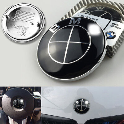 3Pcs For BMW Logo Full Black Front Rear Hood Trunk Emblem Badge Free shipping