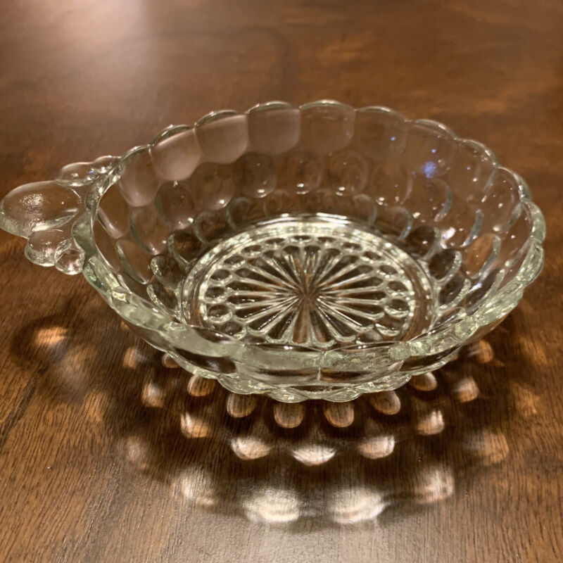 """Vintage Anchor Hocking Crystal Clear Glass Bubble Bowl 4 1/2"""" x 1 1/2"""""""