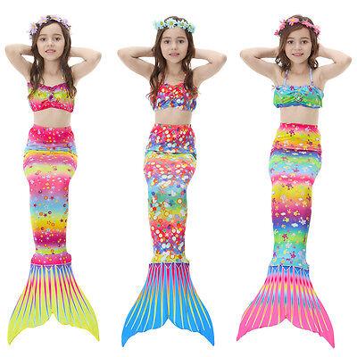 Kids Girls Swimming Bikini Set Mermaid Tail Swimmable Costume Swimsuit Monofin