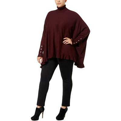 Alfani Womens Purple Ruffled Turtleneck Cape Sweater Top Plus 2X BHFO 1622