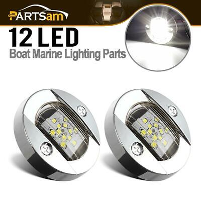2xMarine Boat Flush Mount Stainless LED Transom White Round Courtesy Lights IP68