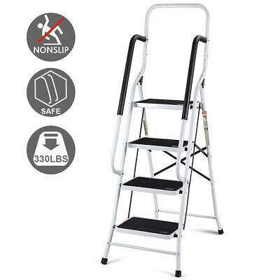 2 In 1 Non-slip 4 Step Ladder Folding Stool w/ Handrails 330Lbs Load Capacity