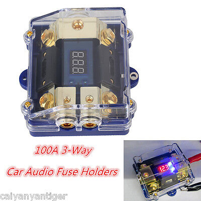 Car Audio Power Fuse Holder Electrical Ground Cable Connecting 100A 3Way LED Kit