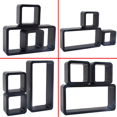 COSTWAY 3PC Floating Wall Shelves Shelf Display Decor Storage Black MDF
