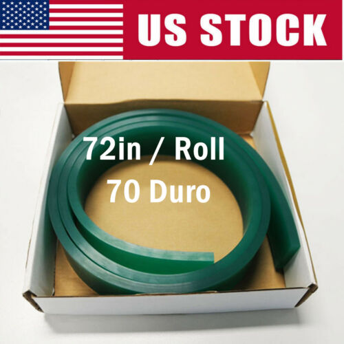 """Screen Printing Squeegee Single 50mm x 9mm x 6FT(72"""") / Roll 70 Duro (Green)"""